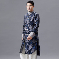 Mens Tang suit long jacket male Cheongsam style stand collar top traditional spring autumn Chinese clothing