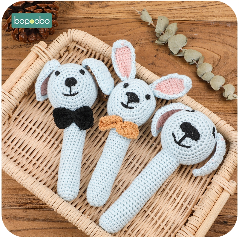 Bopoobo 1pc Amigurumi Animal Mobile For Baby Cot Hanging Toys Baby Rattle Toys Funny Educational Toddler Crochet Children's Toy