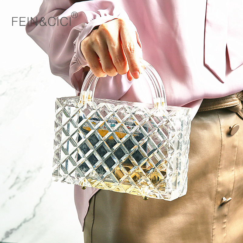 Transparent Totes Bag Clear Acrylic PVC Plastic Box Bag Women Girl Vintage Retro Evening Weding Party Handbag 2019 Summer Bag