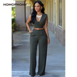 Image 3 - HOMOPHONY Women High Waist Jumpsuit Office Ladies Elegant Party Solid V neck Playsuit Summer Sleeveless Evening Party Jumpsuit