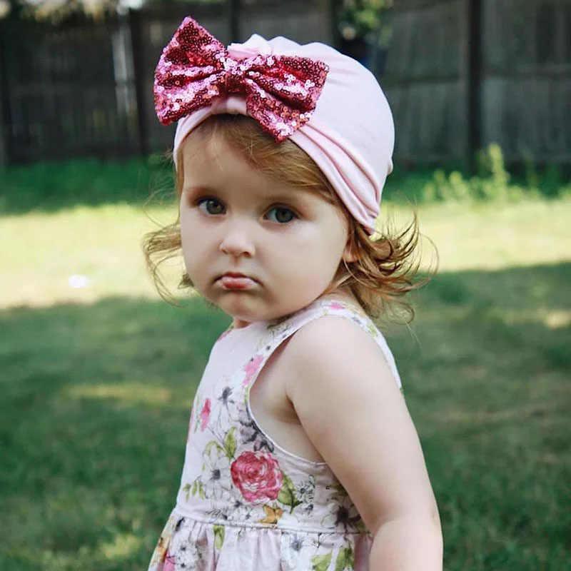 Brillant grand nœud bébé chapeau coton nouveau-né bébé bonnet casquette bandeaux élastiques infantile enfant en bas âge Turban bébé cheveux accessoires
