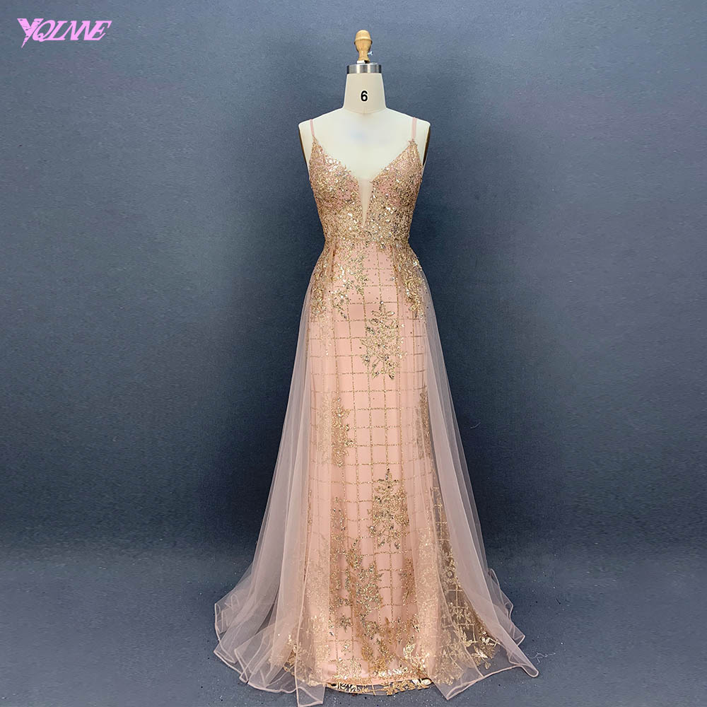 YQLNNE Sweet Rose Gold Long Prom Dresses Bling Formal Party Dress