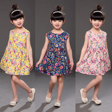 Floral Print Girls Dresses Sleeveless Children Dresses For Girls Casual Button Girls Summer Dress Princess Clothes Costume 2021