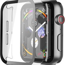 For Iwatch Case Hard PC Case with Tempered Glass Screen Protector for Apple Watch Series 6 SE Series 5 Series 4 40mm 44mm