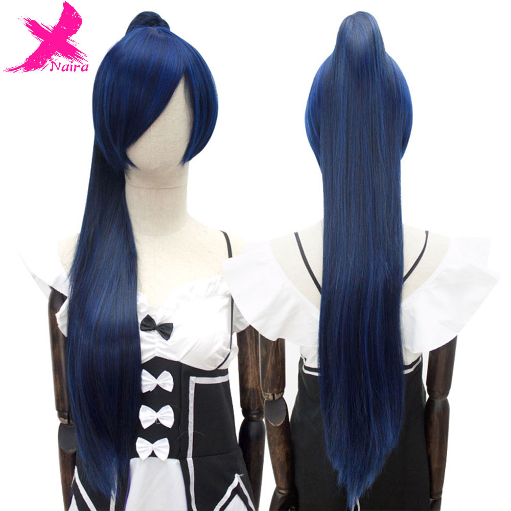 Xnaira 15Color 3 Style Long Straight Ponytail Clip Cosplay Lolita Wig High Temperature Fiber Synthetic Wigs With Bangs For Women