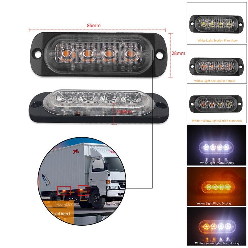4LED Car light strip Ultra-thin side marker lights for trucks Strobe lamp LED Police Flasher Emergency Construction Warning ligh