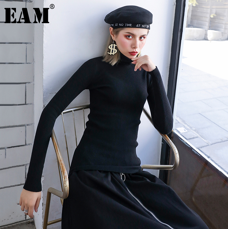 [EAM] Brief Knitting Sweater Pullover Loose Fit Turtleneck Long Sleeve Women Sweater New Fashion Tide Autumn Winter 2019 1H767