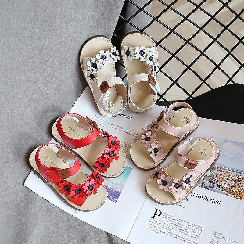Sweet Girls Sandals Flowers Cute Toddler Girl Sandals Kids 2020 New Summer Beach Shoes Anti-slippery Children Girl Sandal D02051