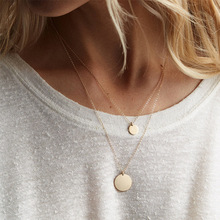 Simple Temperament Double Necklace Female Stainless Steel Round Pendant Short Neck Chain 316L
