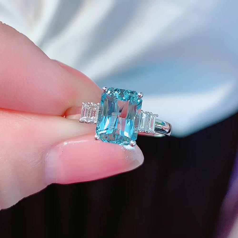Кольцо женское с голубым кристаллом, Ювелирное Украшение с аквамарином, топазом, бриллиантами, цвет белое золото и серебро, хороший подарок