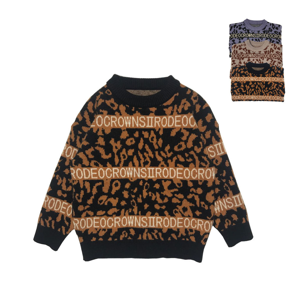 Children 39 s Jumper Sweater for Girl Clothes Round Neck Knitted Sweater for Boy Leopard Print Pullover Kids Letter Long Sleeve in Sweaters from Mother amp Kids
