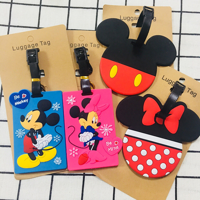 Mickey Bowknot Head Anime Travel Accessories Luggage Tag Suitcase ID Address Portable Tags Holder Baggage Label New