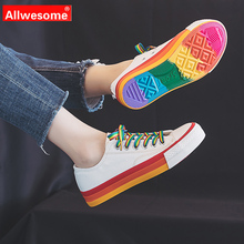 Allwesome Women Vulcanize Shoes Women Designers 2019 Canvas Flat-bottom Fashion Personality Solid Color Hot Sale Casual Shoes hot sale women vulcanize shoes canvas flat fashion women casual students breathable walking shoes 5 colors plus size 35 44 lx5