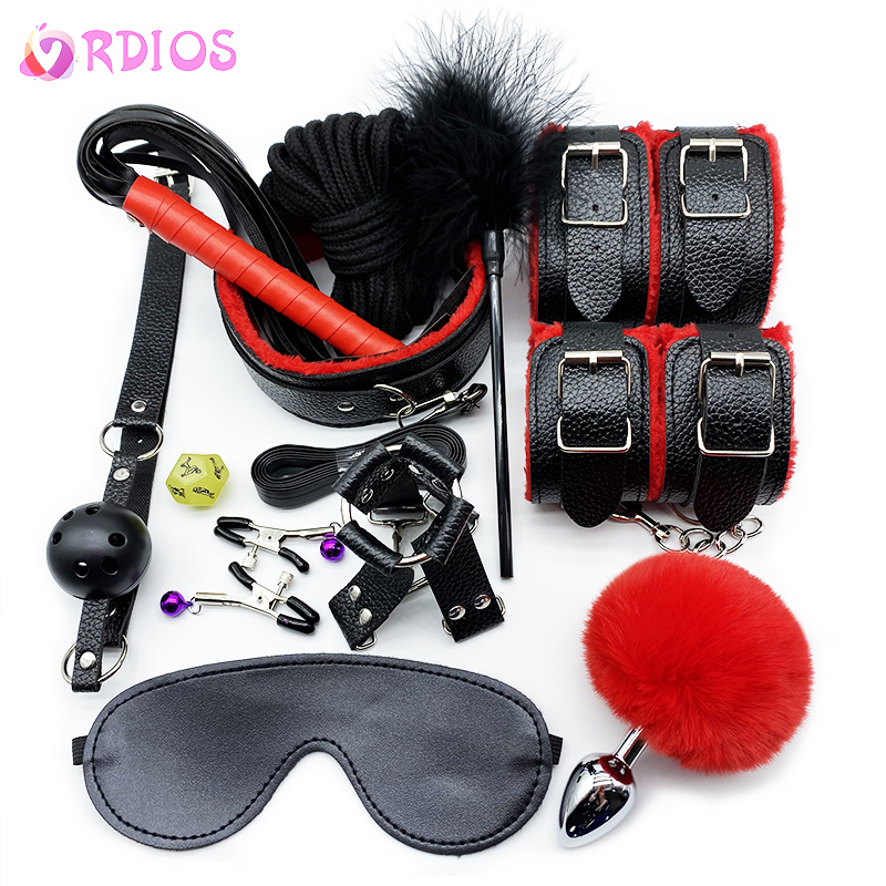 VRDIOS BDSM Sex Bondage Set Handcuffs Gag Mask Whip Erotic Toys Adult Sex Toys For Women Couples Sex Shop Anal Butt Plug Tail