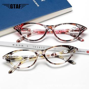 Fashion Anti-Fatigue HD Reading Glasses For Farsighted Floral Elderly Women's Cat's Eye Frame Spring Mirror Legs Reading Glasses image