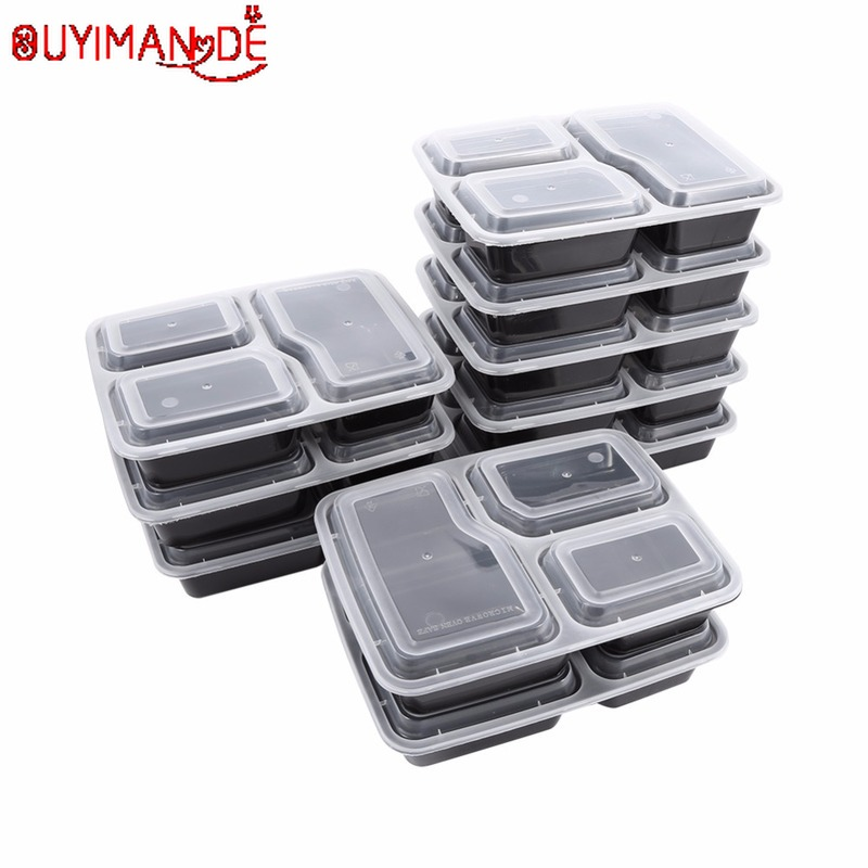 10 Pcs Plastic Reusable Bento Box Meal Storage Food Prep Lunch Box 3 Compartment Reusable Microwavable Containers Home Lunchbox