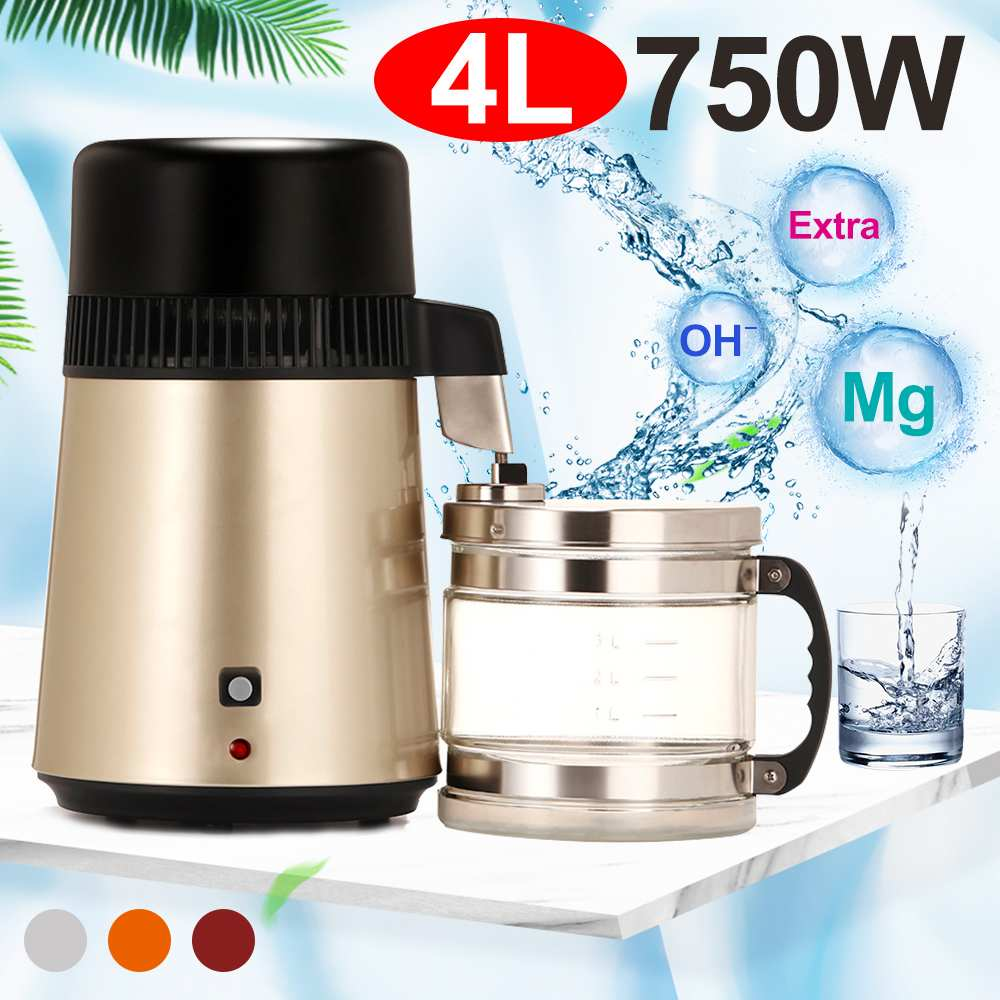 4L 110V/220V Home Pure Water Distiller Filter Water Distillation Machine Purifier Stainless Steel Plastic Jug Carbon Filter image