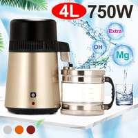 4l 110 v/220 v casa destilador de água pura filtro máquina destilação água purificador plástico aço inoxidável jarro filtro carbono|Filtros de água| |  -