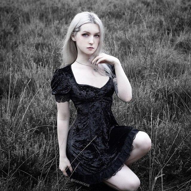 InsGoth-vestido gótico negro de Encaje Vintage, minivestido Sexy de cintura alta, vestido de estética elegante de manga corta de línea A, ropa para fiesta y Club 2