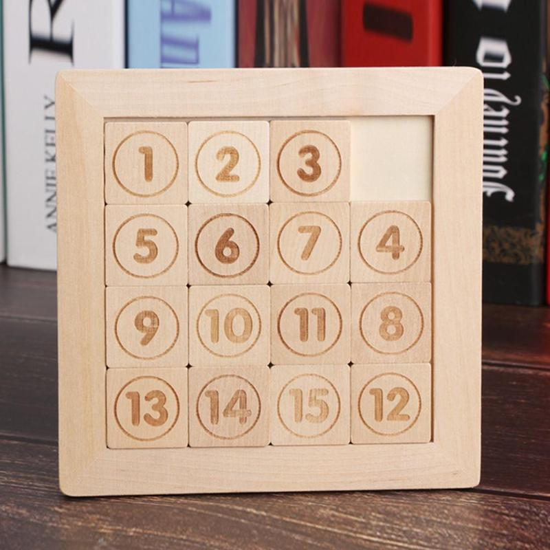 Wooden 15 Number Slide Puzzle Toy Classic Sliding Brain Teaser Game Toy Jigsaw F