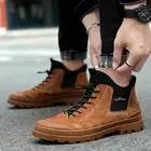 Мужские ботинки; высококачественные теплые мужские зимние ботинки на меху; уличная модная мужская зимняя обувь из натуральной кожи с высок...