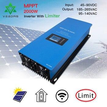 2000W Battery Discharge Power Mode/MPPT Solar Grid Tie Inverter with Limiter Sensor DC 45-90V AC 220V 230V 240V PV connected 1
