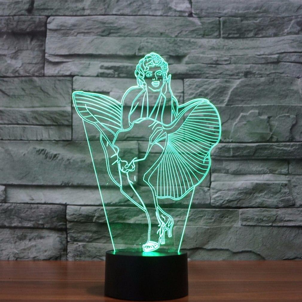 ICOCO Beauty Shaped 3D Led Lamp Art Wall Decor For Christmas Party Birthday Kid's Room Wedding