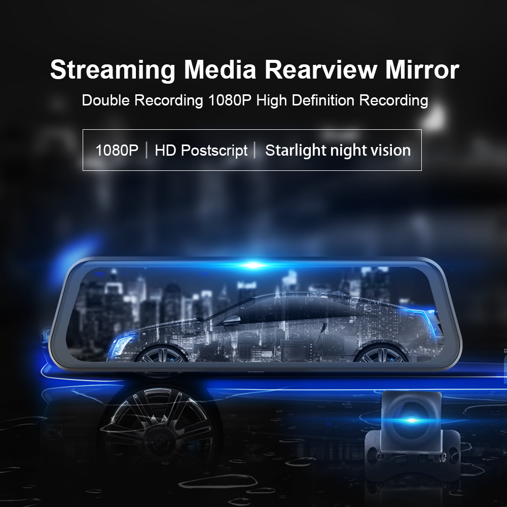 Mirror Car-Dvr-Camera Dash-Cam Media-Pro Stream Night-Vision Video-Recorder Rearvew FHD