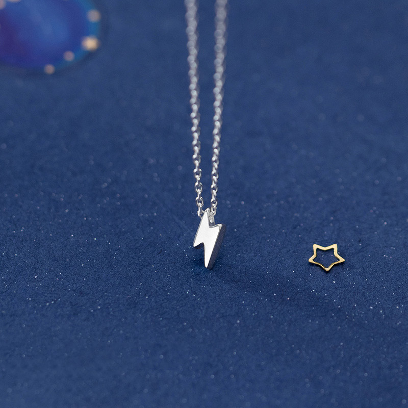 Trusta Lightning Necklace 925 Sterling Silver Made Real Silver Pendant Girls Love Gift for Women Necklaces Jewelry DS2356