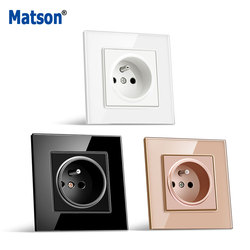 Matson EU Wall Crystal tempered glass panel Power Socket Plug Has Been Grounded, 16A French Standard 86mm * 86mm AC100-250V