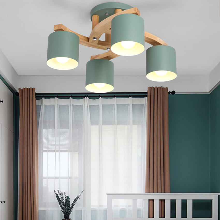 Image 5 - Nordic Wood E27 Ceiling Lamp Simple Art Iron Ceiling Light Bedroom Living Room lustre Kitchen Dining & Bar ceiling lights Avize-in Ceiling Lights from Lights & Lighting