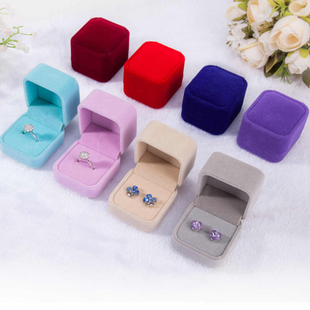 Square/Heart Shape Solid Color Velvet Jewelry Necklace Ring Earring Display Storage Organizer Box Luxury Gift Box High Quality