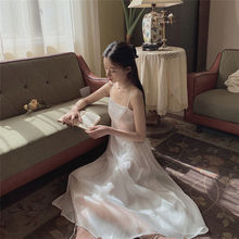 2021 Women Satin Deep V Neck Sexy Dress Solid Straight Party Dress Elegant Female Summer Strap Dress Casual  vintage white dress