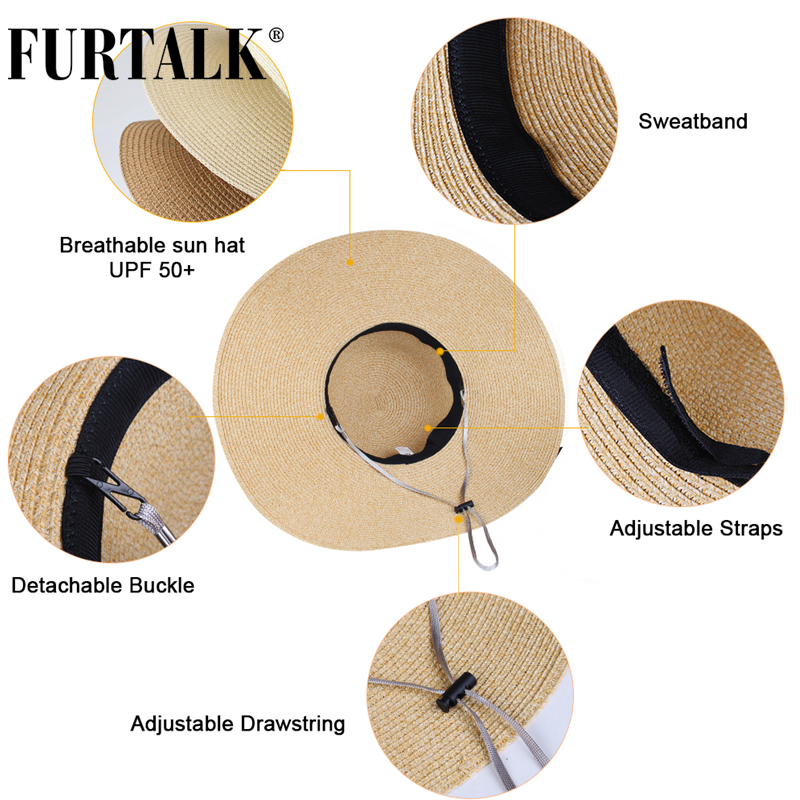 FURTALK Summer Beach Hat Women Large Straw Hat Big Brim Sun Hats UV Protection Foldable Roll Up Floppy Cap chapeu feminino 2020 4