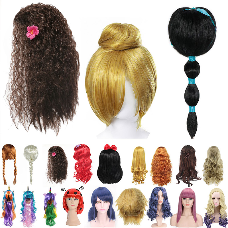 Kids Wigs Cosplay Synthetic Hair Girls Princess Dress Up Accessories Party Jasmine Elsa Wig Rapunzel Braid Mal Evie Cosplay Wigs