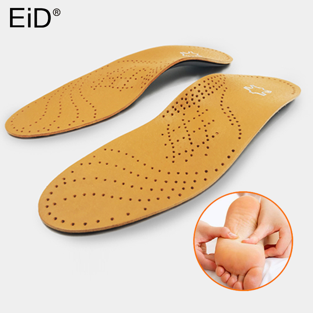 High Quality Leather Orthotic Insole For Flat Feet Arch Support Orthopedic Shoes Sole Insoles For Feet Care Men Women OX Leg