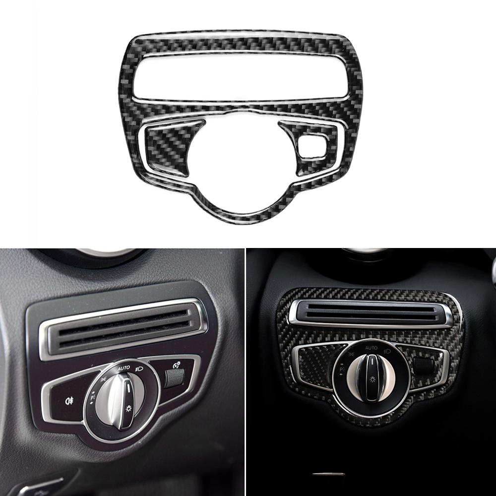 Carbon Fiber Headlight Switch Frame Cover Trim Car Styling Decal Sticker For Mercedes-Benz GLC260/C Grade C200 180L