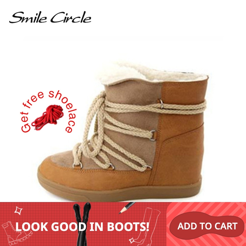 Smile Circle 2019 Winter Shoes For Women Lace up Wedge Boots Women's High heel Elevator Shoes Ankle Boots Warm Plush Snow Boots-in Ankle Boots from Shoes