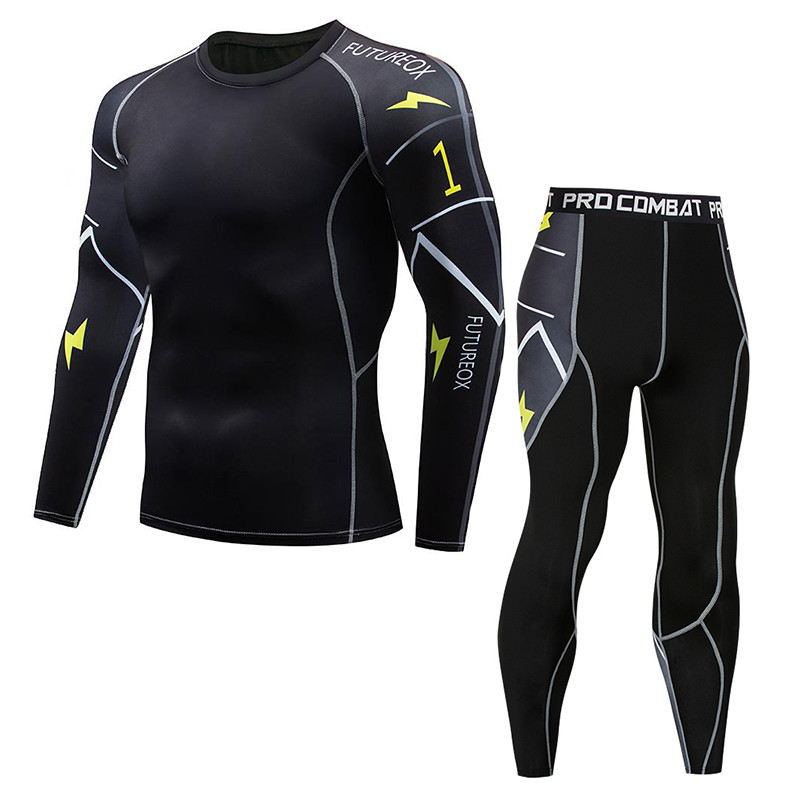 Men's Sports Running Set Compressed Long Sleeve T-Shirt + Pants Tight Long Sleeve Fitness Rashguard MMA Training Suit Yoga Wear