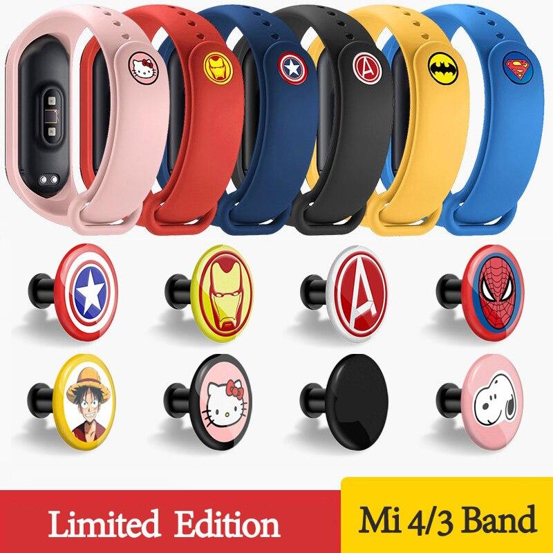 For Xiaomi Mi Band 3 4 Sport Strap Silicone Cartoon Wrist Strap Band Bracelet Watch For Mi Band 3 4 Woman Man Miband 4 3 Strap