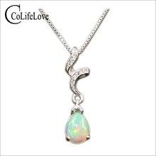 925 gümüş opal kolye kadın için 6 mm * 8 mm armut kesim doğal avustralya opal taş kolye gümüş opal takı