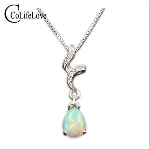 Image 1 - 925 silver opal pendant for woman 6 mm * 8 mm pear cut natural Australia opal gemstone pendant sterling silver opal jewelry