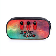 Squid Game Single-layer Student Pencil Case Vertical Square Large Capacity Pencil Bag Storage Bag Organizer Stationery Box