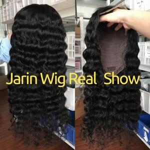 Image 2 - ディープ波かつらレースフロントかつら人毛ディープカーリー13 × 4レースフロントかつら事前摘み取らで黒人女性のためのバルク販売