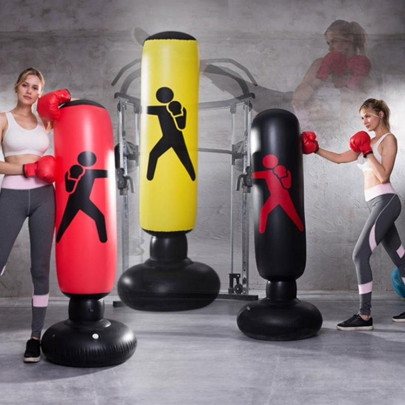 1.6M Inflatable Boxing Punching Bag Stress Punch Tower Speed Bag Stand Kick Martial Training Boxing Post For Home Sports Punching Bag & Sand Bag  - AliExpress