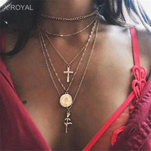 X-ROYAL 5 Layers Creative New Style Fashion Women Necklaces Unique Cross Rose Pendant Gold Link Chain Chokers Vintage