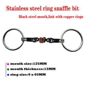 Free shipping black steel horse snaffle bit,link with copper wire rings.(BT0506)