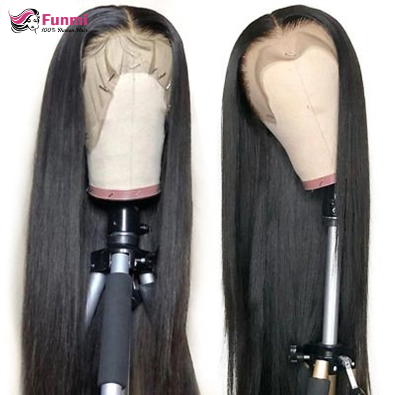 Straight Lace Front Wig Malaysian Lace Front Human Hair Wigs For Black Women 180% Density Lace Front  Wig Pre-Plucked Remy Funmi