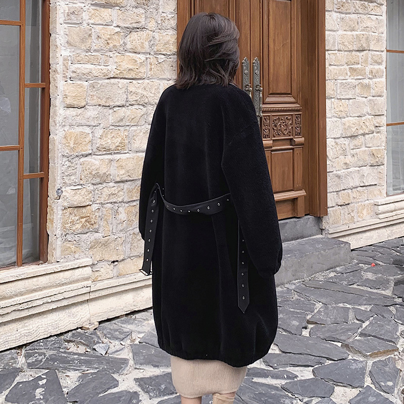 Real Fur Coat Autumn Winter Women Clothes 2020 Korean Vintage 100% Wool Jacket Streetwear Black Women Tops Abrigo Mujer ZT3183