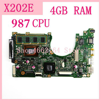 X202E Mainboard 4GB 987 CPU REV 2.0 motherboard For ASUS S200 S200E X202 X202E X201EP X201EV X201E Laptop motherboard Tested OK